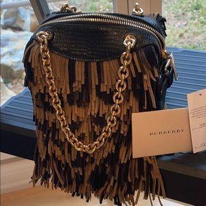 Burberry  Animal Print fringe suede handbag